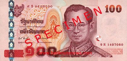 100 THB note (printed mainly in red) specimen