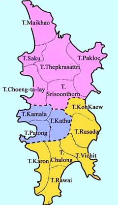 Phuket district map