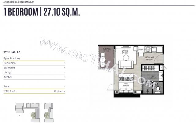 Pattaya, Studio - 28 sq.m.; Sale price - 3.147.000 THB; Andromeda Condo