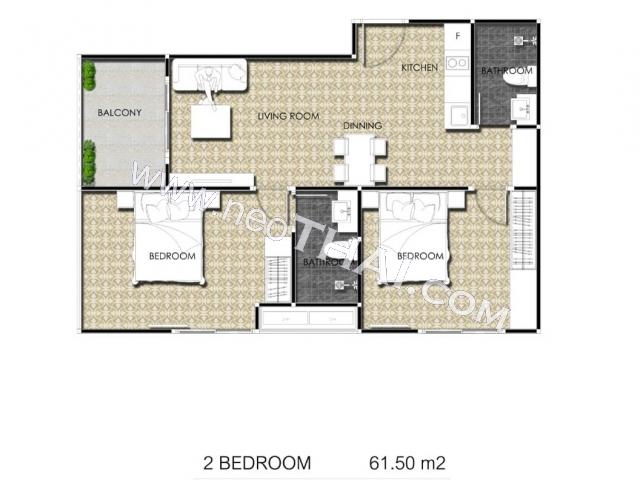 พัทยา, อพาร์ทเมนท์ - 61 ตรม; ราคาขาย - 8,610,000 บาท; อาคาเดีย เซ็นเตอร์ สูท  - Arcadia Center Suites