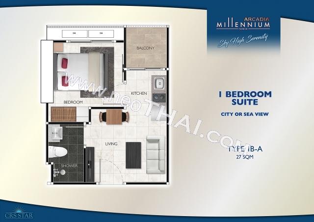 พัทยา, อพาร์ทเมนท์ - 27 ตรม; ราคาขาย - 3,119,000 บาท; อคาเดีย มิลเลนเนียม ทาวเวอร์ - Arcadia Millennium Tower