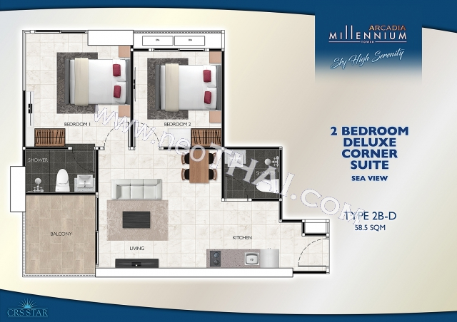 Pattaya, Apartment - 56 sq.m.; Sale price - 5.600.000 THB; Arcadia Millennium Tower
