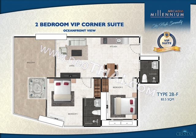 Pattaya, Wohnung - 83.5 m²; Kaufpreis - 8.350.000 THB; Arcadia Millennium Tower