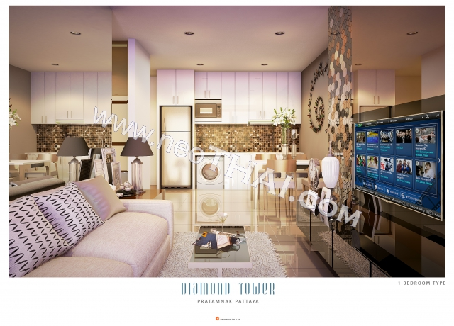 Pattaya, Asunto - 35 m²; Myyntihinta - 5.530.000 THB; Diamond Tower