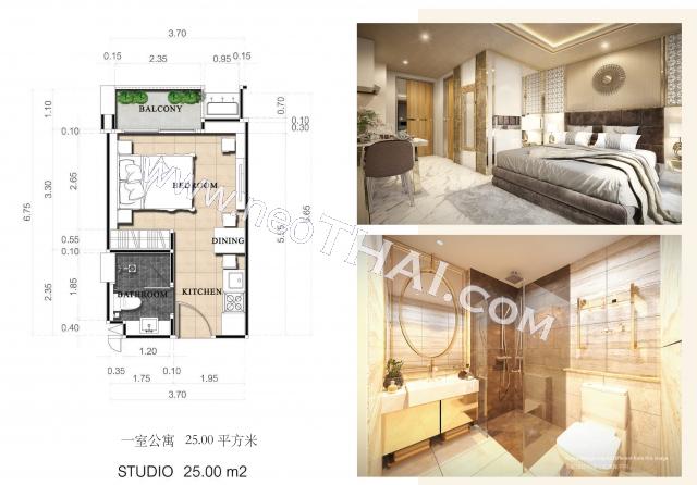 Pattaya, Studio - 25 kvm; Pris - 2.298.000 THB; Dusit Grand Park 2