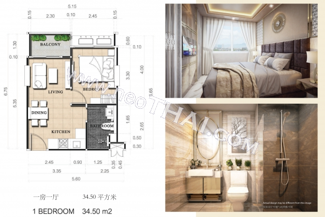 Pattaya, Apartment - 34.5 sq.m.; Sale price - 3.020.000 THB; Dusit Grand Park 2