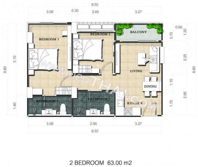 พัทยา, อพาร์ทเมนท์ - 63 ตรม; ราคาขาย - 4,480,000 บาท; ดุสิต แกรนด์ พาร์ค 2 - Dusit Grand Park 2