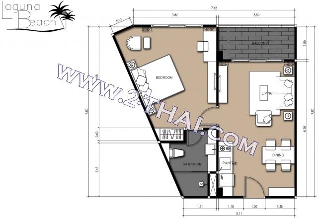 Pattaya, Apartment - 49 sq.m.; Sale price - 1.999.000 THB; Laguna Beach Resort Jomtien 2