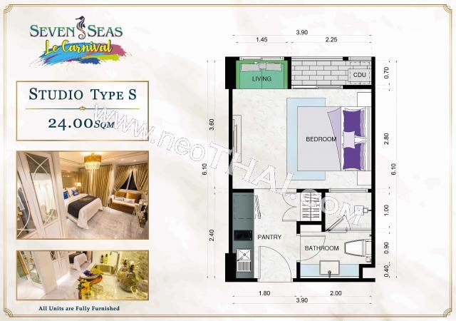 Pattaya, Studio - 24 kv.m; Salgspris - 1.990.000 THB; Seven Seas Le Carnival