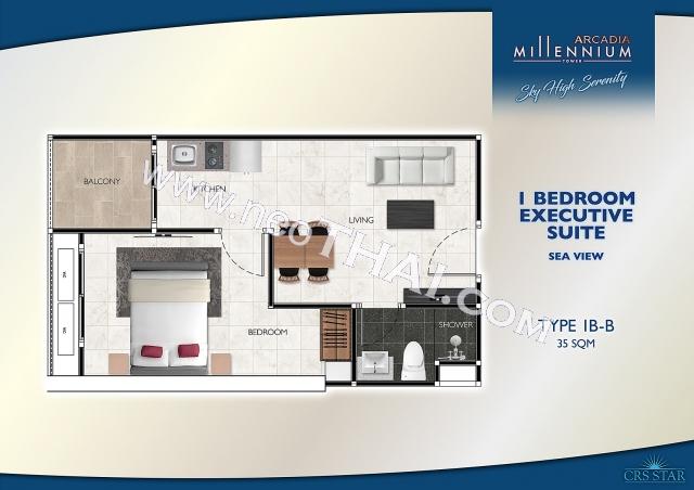 Pattaya, Wohnung - 35 m²; Kaufpreis - 3.325.000 THB; Arcadia Millennium Tower