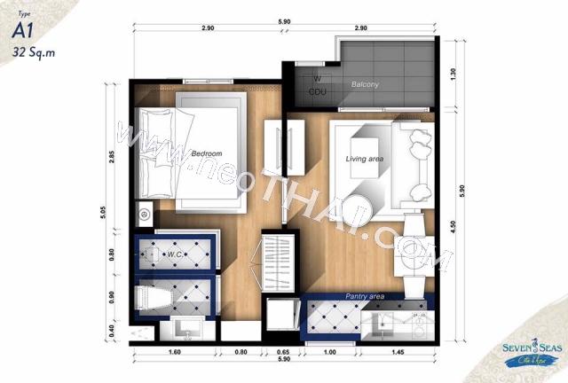 Pattaya, Apartment - 32 sq.m.; Sale price - 2.800.000 THB; Seven Seas Cote d Azur
